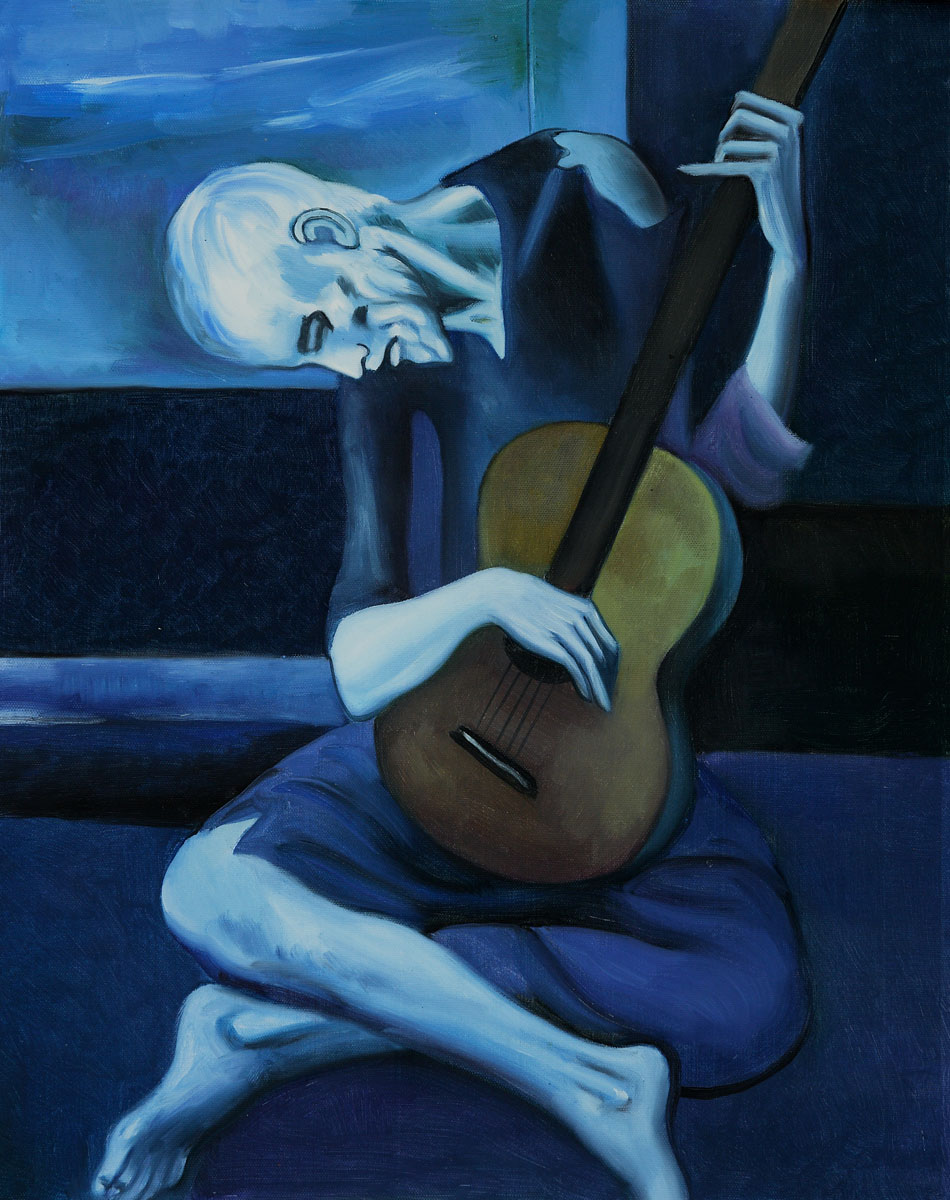 an analysis of the old guitarist pablo picassos painting from the blue period