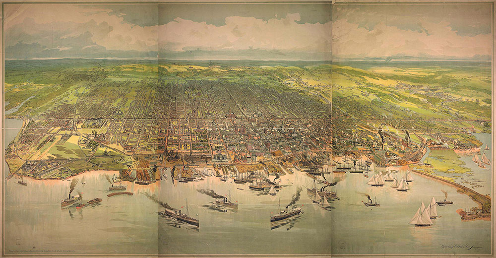 Vintage Map of Toronto Waterfront View