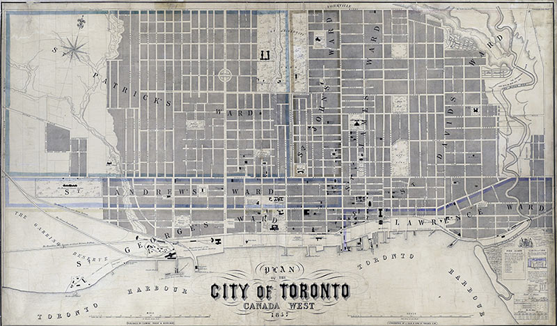 vintage city of toronto map canada west
