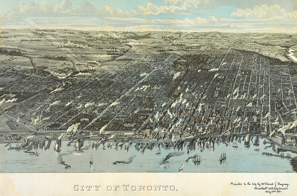 City of Toronto Map Bird's Eye View 1954