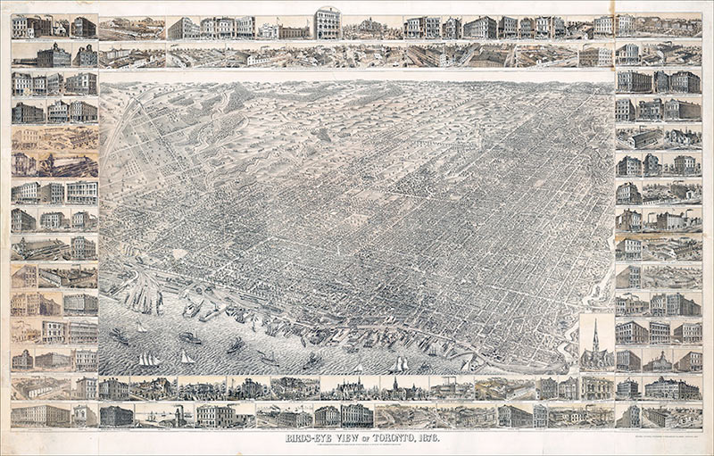 Bird's Eye View Map of Toronto 1876